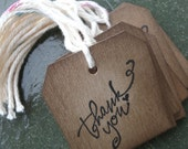 10 Thank You stamped Chipboard Tag, attach to basket, tie around a bottle