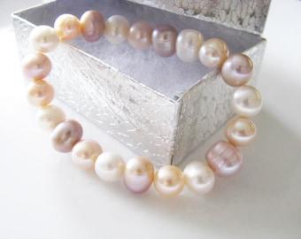 bridal bracelet, wedding bracelet, pearl bracelet, bridal jewelry, pearl jewelry, Pink and White Pearl  Stretch Bracelet Wedding Gift