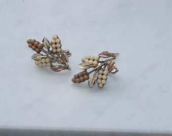Neutral Earrings - Signed Coro - 70's - Tan, Cream, Gold