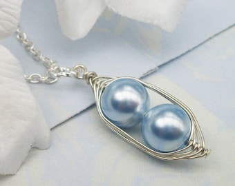 Two Peas In A Pod Silver Pendant Necklace - Precious Boys Blue Swarovski Pearls. Ideal For Brides, Bridesmaids, Moms Or Sisters.