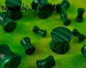 "Malachite Double Flare 8g-1"" (Sold as Pair) Handmade Body Jewelry Plugs (8g, 6g, 4g, 2g, 0g, 00g, 7/16"", 1/2"", 9/16"", 5/8"", 3/4"", 7/8"", 1"")"