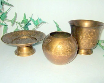Vintage brass pedestal plate brass pedestal urn brass ball vase brass collection signed India brass collection man cave guy gift office