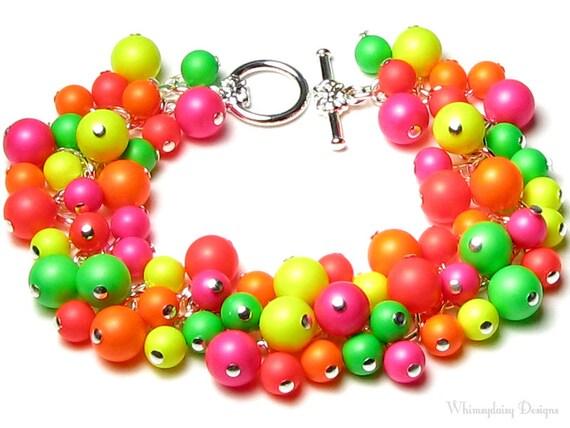 NEON Bracelet, Swarovski Neon Pearl Cluster Silver Charm Bracelet, Neon Pink, Orange, Yellow, Green, Red, Colorful Summer Neon, Neon Jewelry