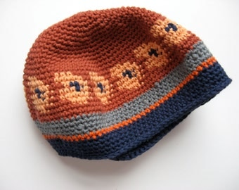crocheted cotton hat cap small