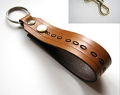 Personalized Leather Key Clip Leather Custom Snap Loop Fob Keychain Bespoke Black Brown Red