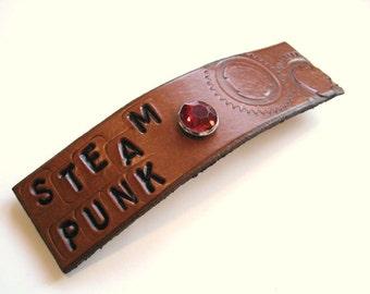 Steampunk Hair Barrette Clip Leather Barrette Tan Gears