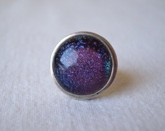 Large Iridescent Glass Modernist Sterling Silver Ring Sz 7