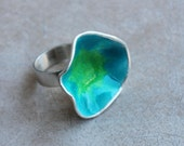 Sterling Silver Oyster Ring, sea and lime enamel