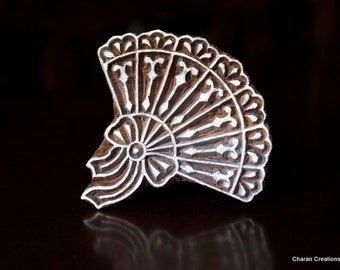 Hand Carved Indian Wood Textile Stamp Block- Victorian Handfan