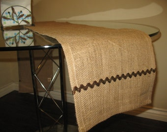 """OOAK Vintage Stylish Table Runner Natural Burlap 11 X71""""  Decorated Rig Rag Ribbon Custom sizes are welcome"""
