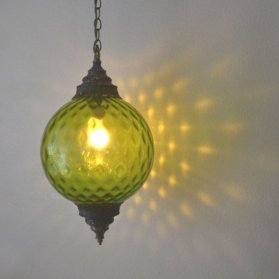 Green Glass Hanging Swag Lamp Retro By StoryTellersVintage