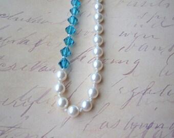 Pearl Necklace. Color Block Necklace. Asymmetric Necklace. Bridesmaid Necklace