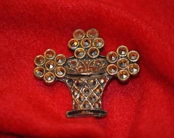 Antique Steel Cut Flower Pot Pin