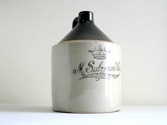 Antique Advertising Stoneware Jug - Rustic Industrial Decor