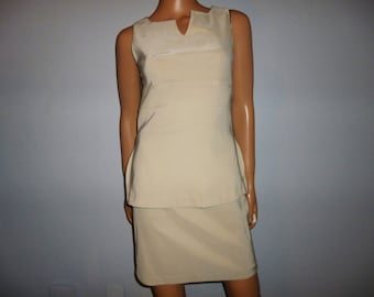 """Vintage 80's - Sexy -Champagne Color -Mini Skirt and Top -2 Piece -Suit - Set  -32"""" to 34"""" bust size"""