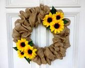 """Sunflower Burlap Wreath - 16"""""""