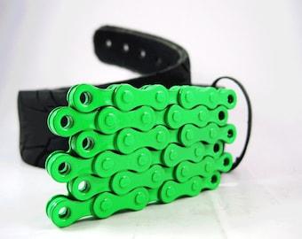 Recycled Bike Chain Belt Buckle- Flat- Neon Green Finish