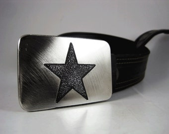 Star Belt Buckle - Etched Stainless Steel - Handmade