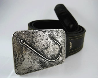 Fish Hook Belt Buckle - Etched Stainless Steel - Handmade
