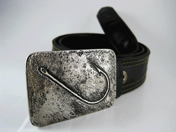 items similar to fish hook belt buckle etched stainless