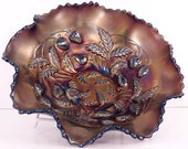 "Northwood Strawberry Amethyst Carnival Glass 9"" Bowl"