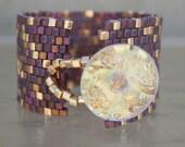 Peyote Bracelet Cuff Bracelet Womens Bracelet Beaded Bracelet Beadweaving Handmade Jewelry Golden Sunset