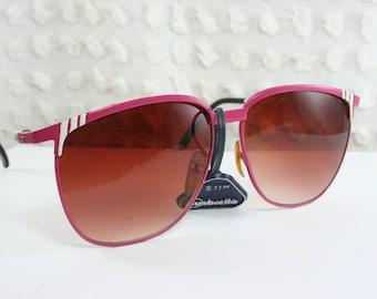 Vintage 70s Sunglasses 80s Pink Sunglass Metal Magenta White Burgundy Brown Lens Non Rx NOS Unisex Large Sunbrella