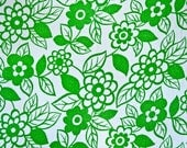 Terry cloth cotton fabric - Mod floral green and white