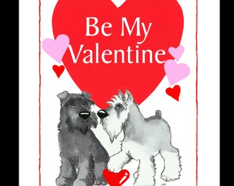 Two Schnauzers Valentine Card