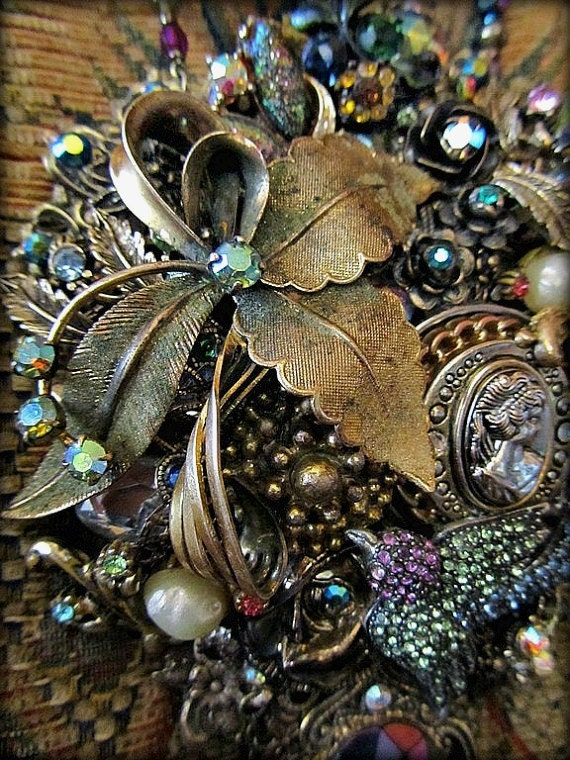 Vintage Crystal Jewelry-Swarovski Crystals,Antique Gold and Crystals-Vintage Collage Assembladge-Handcrafted Necklace