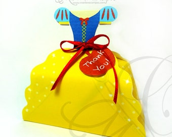 50% OFF SALE Snow White Dress Inspired - Printable Favor Box, princess party favor