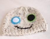 Baby Zombie Knit Beanie, Cream zombie, felt eyes, stitched mouth
