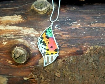 New York Fashion Week Statement Necklace, Madagascan Sunset Moth Pendant Sterling Silver Necklace
