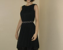 Vintage 60s R & K Originals Black Silk Chiffon Dress Small Waist 25 Inches