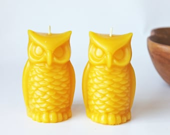 Pair Beeswax Candles, Owl beeswax candles, pure beeswax candles, unscented candles