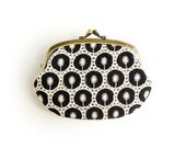 Embroidered Black and White Compartment Purse Wallet