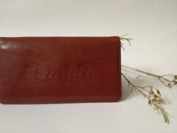 vintage Leather checkbook wallet Stagecoach Horses brown southwestern