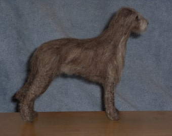 Irish Wolfhound needle felted dog example custom made to order