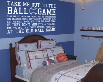 Take me out to the ball game Baseball Sports Subway Art Vinyl Wall Decal