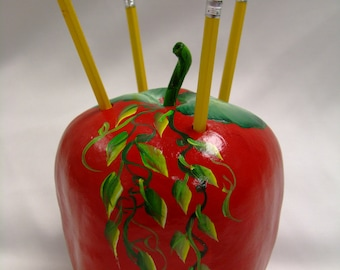 Personalized Apple gourd pencil holder, teacher gift, appreciation gift, back to school