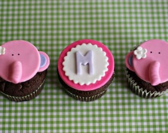 Fondant Elephant and Initial Toppers for Cupcakes, Cookies or other Treats