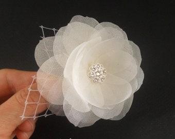 Swarovski Wedding Hair Fascinator, Bridal Facasinator, Wedding Hair Piece, Bridal Hair Clip, Crystal, Silk Flower, Wedding Hair Accessories