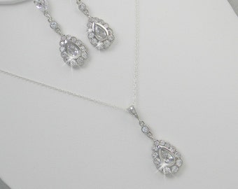 Crystal Bridal Set. Bridesmaids Jewelry Set, Crystal Pendant and Earrings, Wedding Jewellery, Heather Bridal Jewelry SET