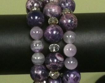 Purple Ball Bracelet in Amethyst & Lepidolite