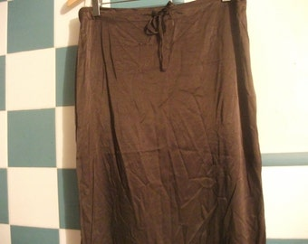 vintage 90s,CHOCOLATE BROWN SATIN skirt, made in Italy, size M, drawstring, pencil skirt, 82 cm waist