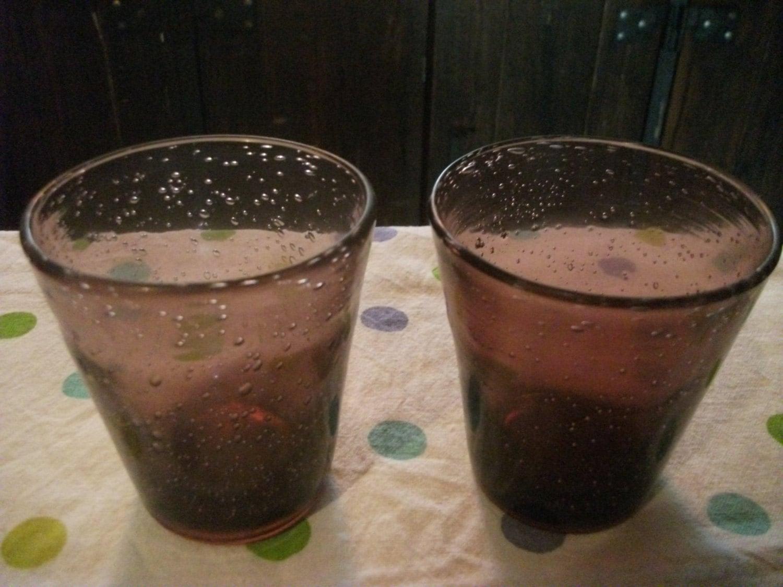 Handblown Bubble Glass Purple Tumblers Set Of 2 Home Decor
