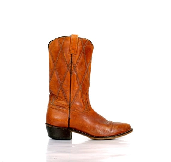 vintage acme cowboy boots in honey almond by xouda on etsy