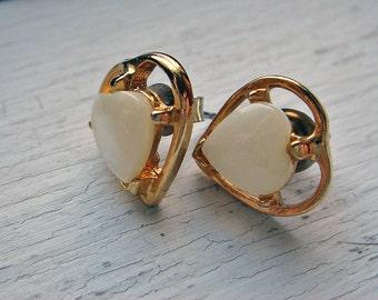 Vintage Opalescent White Heart Post Earrings