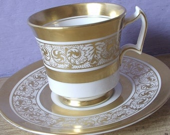 Vintage 1940's Royal Chelsea gold tea cup set, English tea set bone china tea cup and saucer, gold and white tea cup