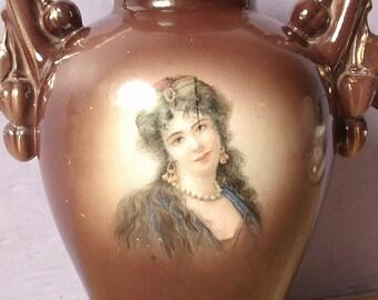 antique portrait vase, Austria, art nouveau decor, brown porcelain vase, Ceramic vase, Wedding gift for bride, Pittsburgh